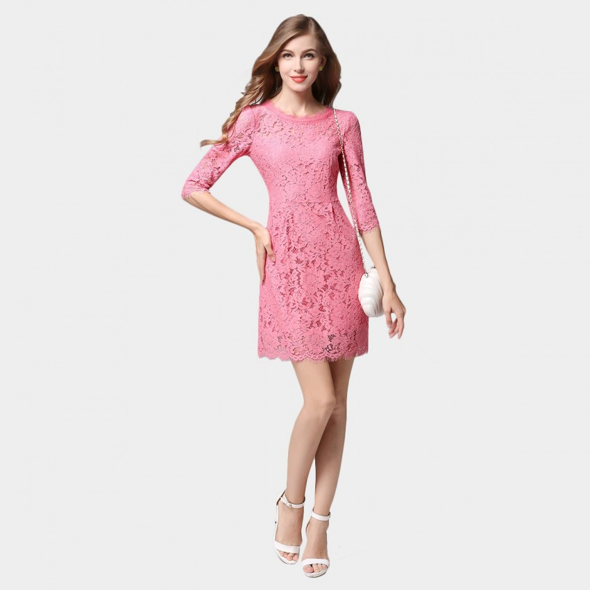 Buy SSXR See Through Lace Mid Sleeved One Piece Pink Dress online, shop SSXR with free shipping