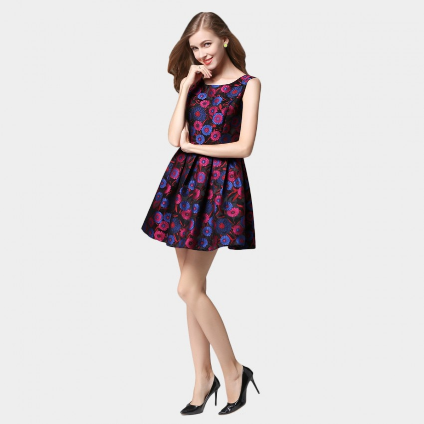 SSXR Daisy Print Mini Wine Dress (5355)