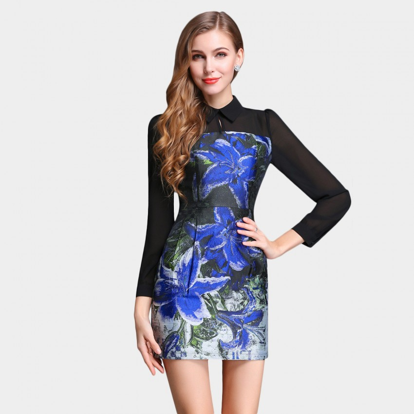 Buy SSXR Lily Blossom Painting Slim Fit Tube Blue Dress online, shop SSXR with free shipping