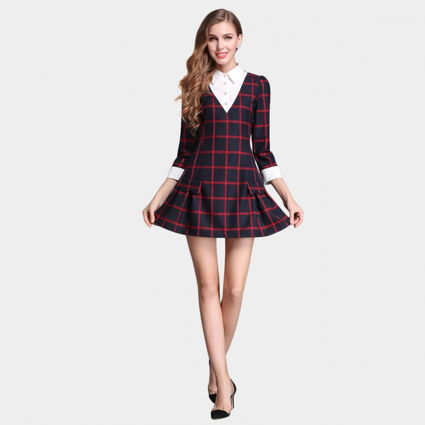 Buy SSXR Faux Two Piece Chequered Red Dress online, shop SSXR with free shipping
