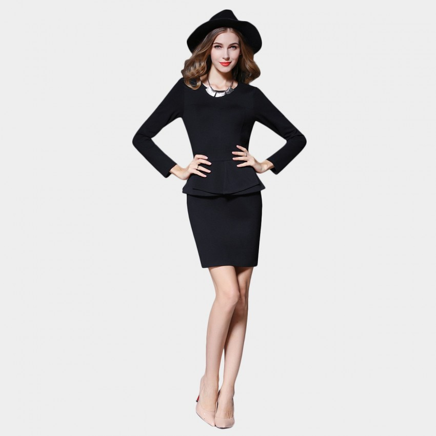 Buy SSXR Long Sleeved Round Neck Faux Two Piece Black Dress online, shop SSXR with free shipping