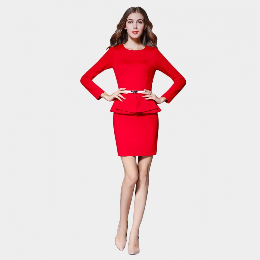 Buy SSXR Long Sleeved Round Neck Faux Two Piece Red Dress online, shop SSXR with free shipping