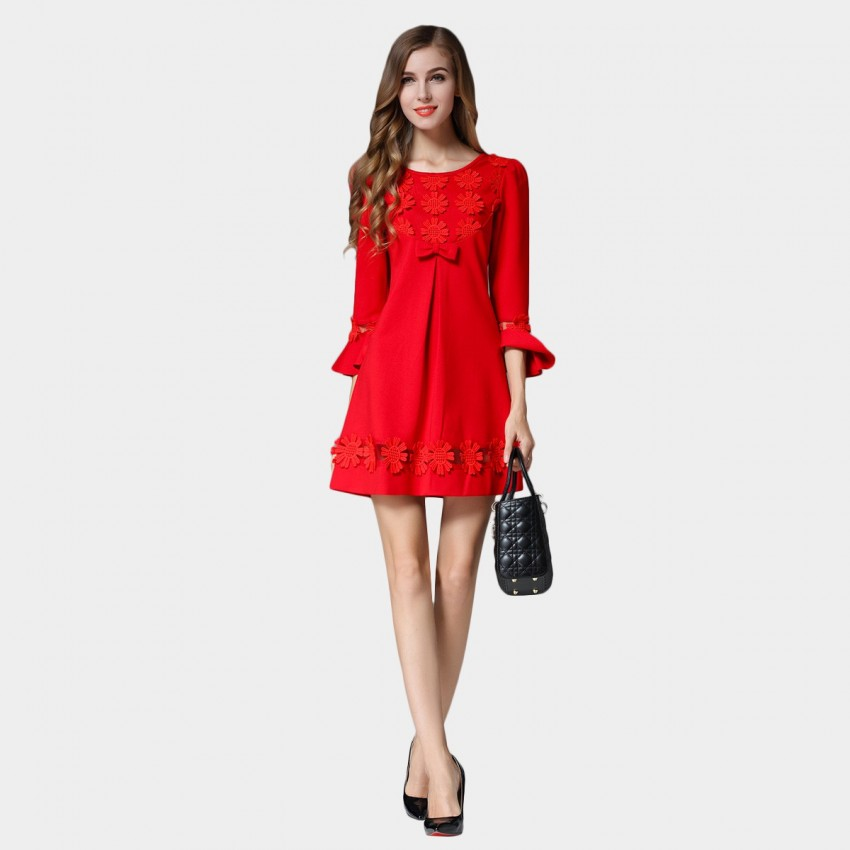 Buy SSXR Ribbons And Daisy Trumpet Sleeve One Piece Red Dress online, shop SSXR with free shipping