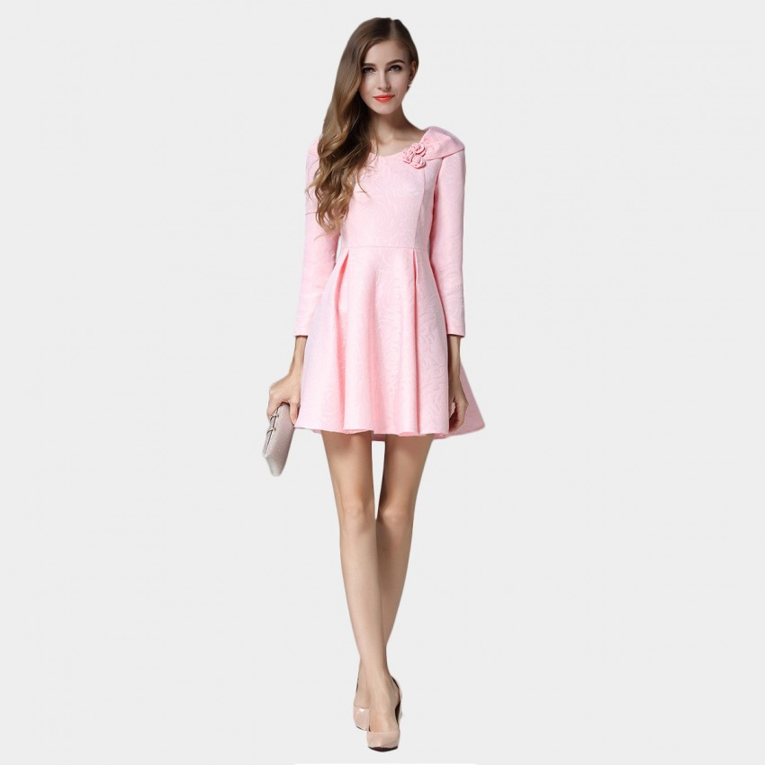 Buy SSXR Roses And Ribbon Shoulder Mini Pink Dress online, shop SSXR with free shipping