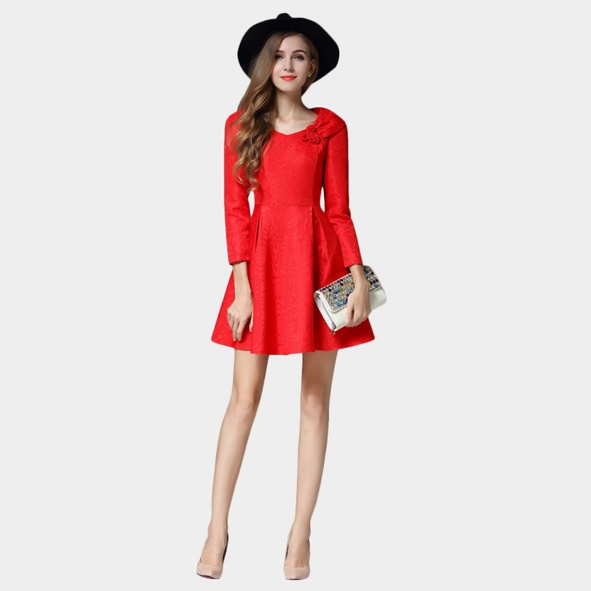 Buy SSXR Roses And Ribbon Shoulder Mini Red Dress online, shop SSXR with free shipping