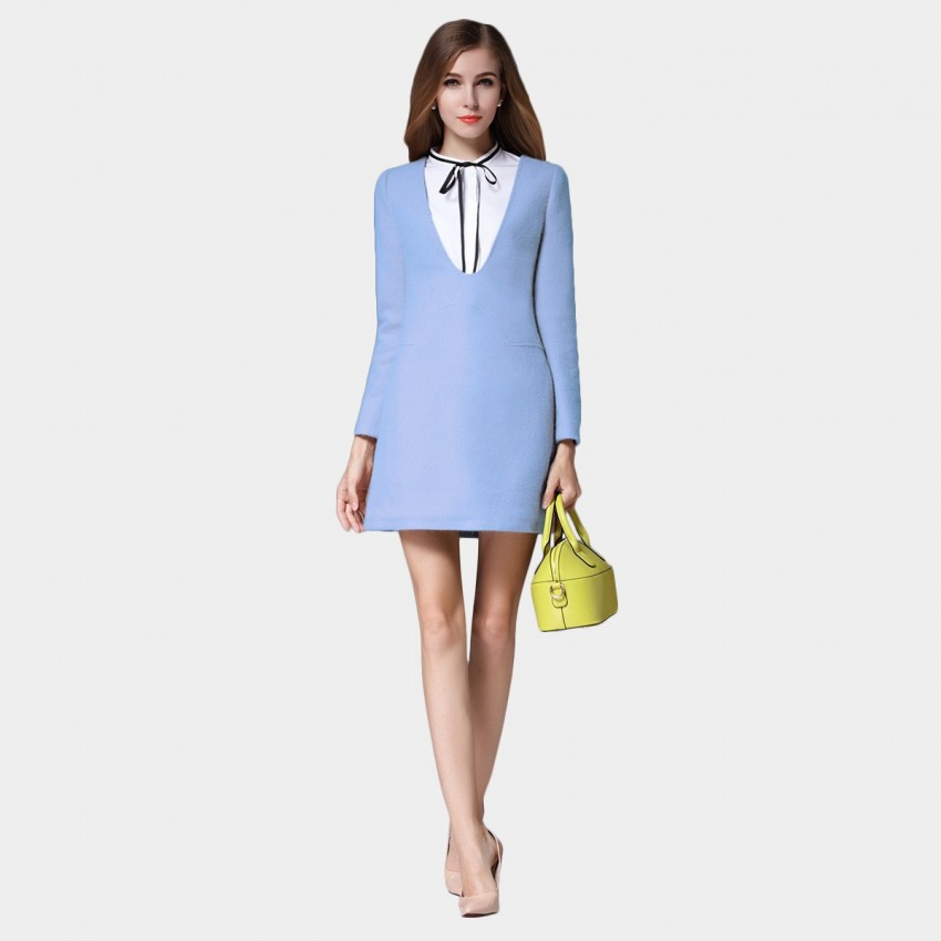 Buy SSXR Ribbon Neck Faux Two Piece Pocket Long Sleeved Blue Dress online, shop SSXR with free shipping
