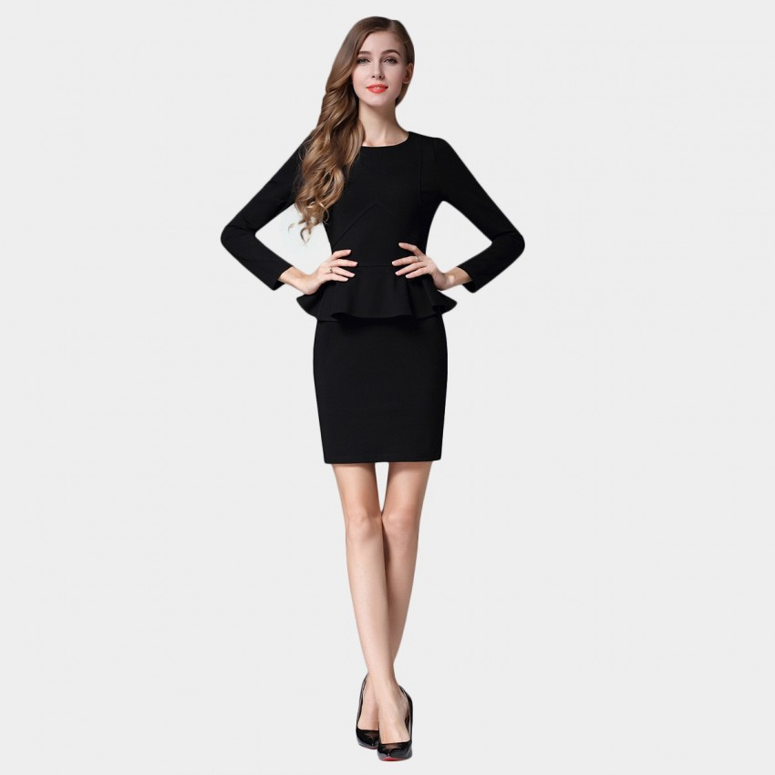 SSXR Triangular Cutting Trumpet Waist Long Sleeved Black Dress (5382)