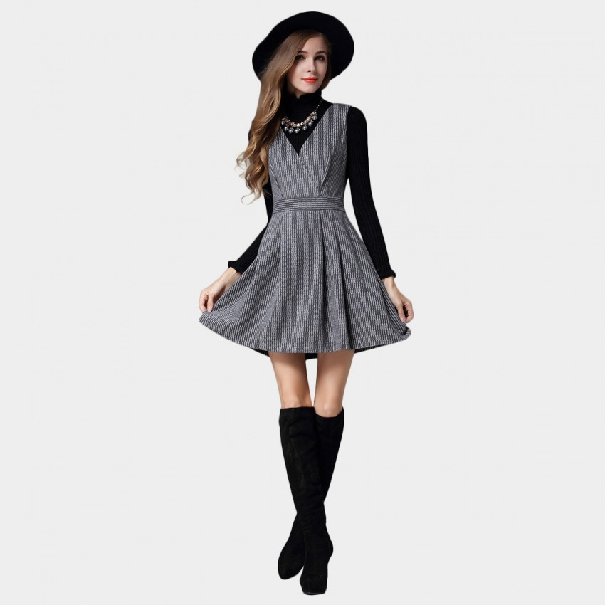 Buy SSXR Strips V Neck A Line Grey Dress online, shop SSXR with free shipping