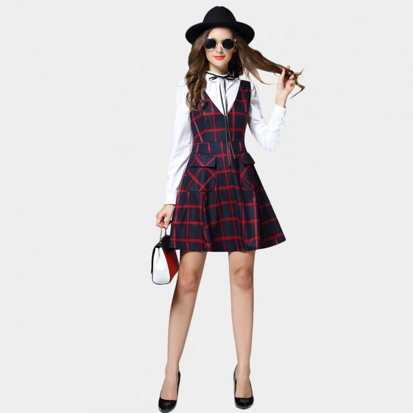 Buy SSXR V Neck Slim Waist Square Patterned Red Dress online, shop SSXR with free shipping