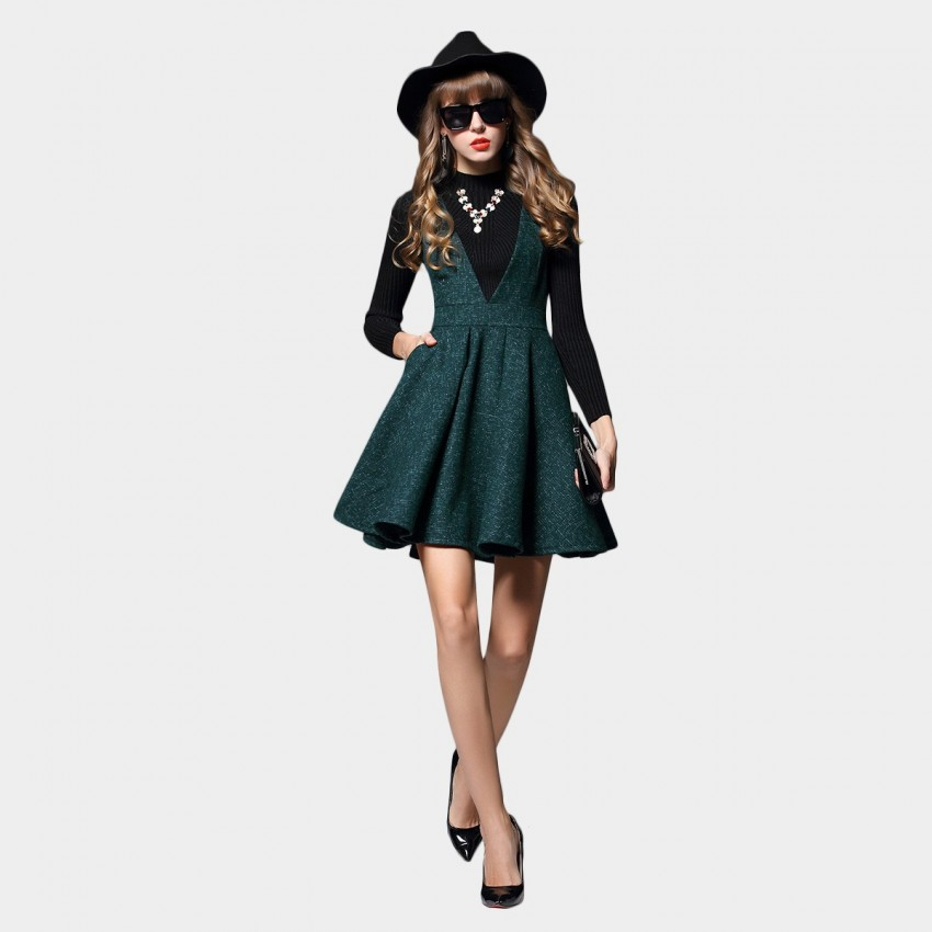 Buy SSXR V Chest Sleeveless A Line Green Dress online, shop SSXR with free shipping