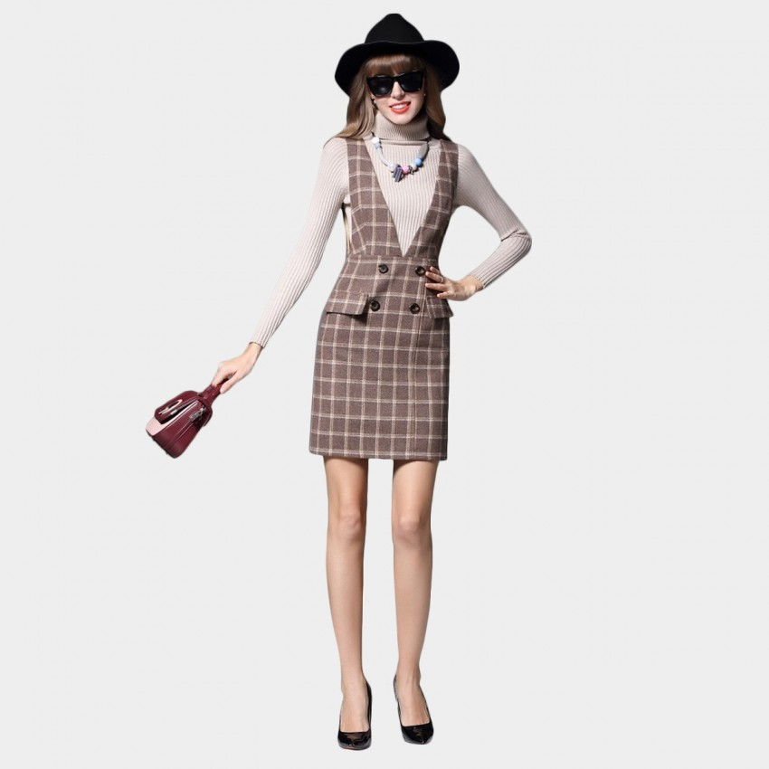 Buy SSXR Square Patterned Double Buttoned Pocket Vest Coffee Dress online, shop SSXR with free shipping