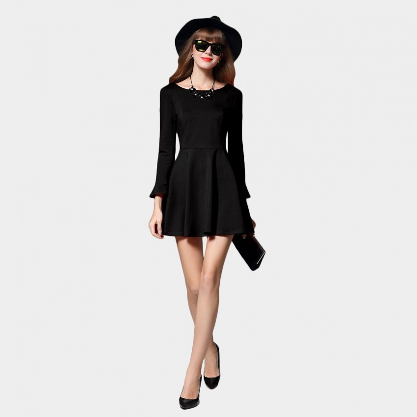 Buy SSXR V Back Ruffled Cuffs A Line Black Dress online, shop SSXR with free shipping