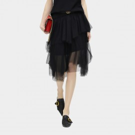Cocobella Layered See Through Light Mesh Irregular Black Skirt (DS566)