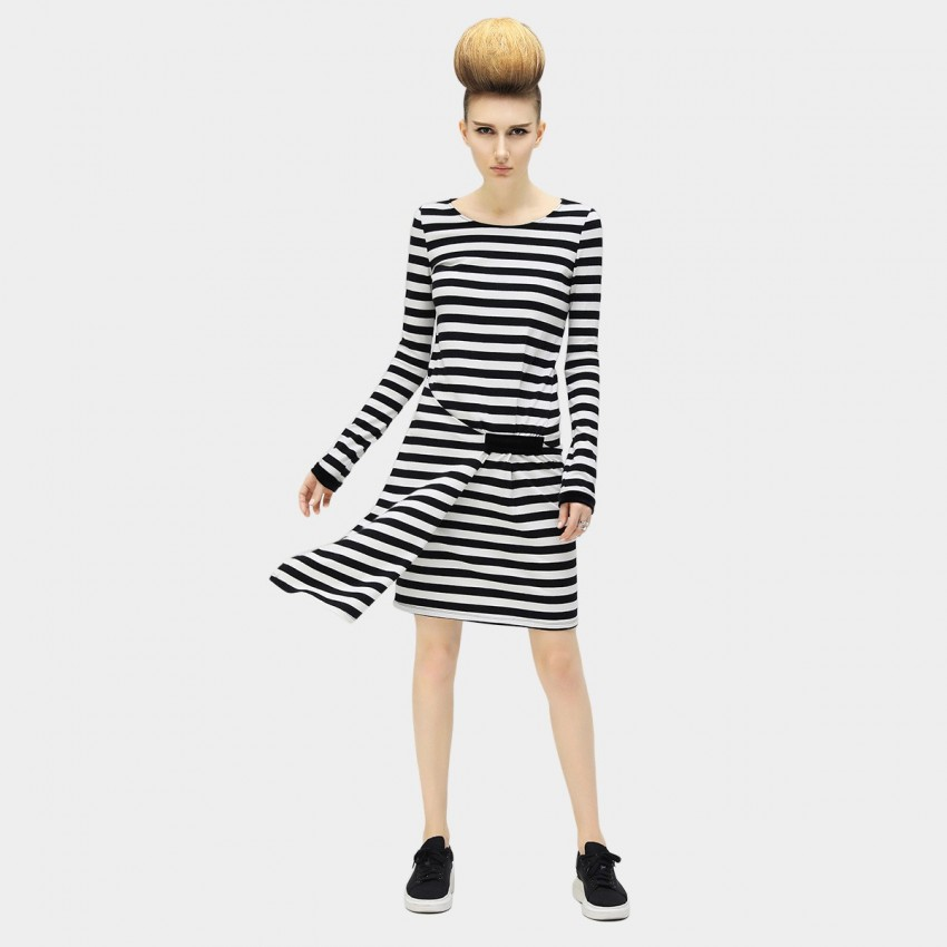 Buy Cocobella Long Sleeve Folding Black And White Stripe Dress online, shop Cocobella with free shipping