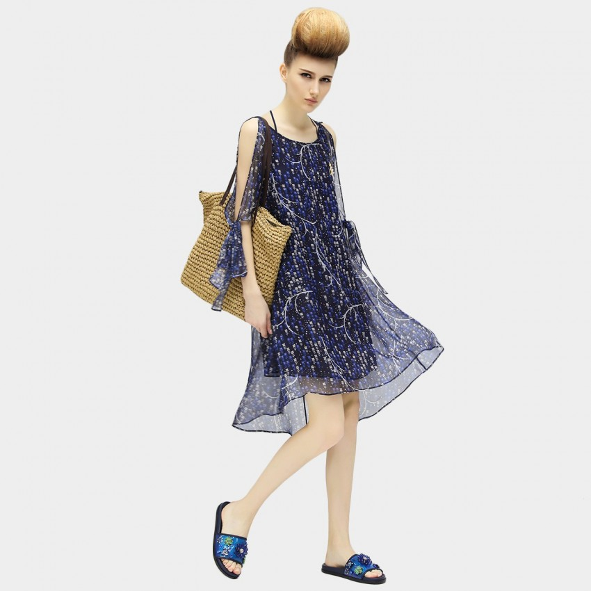 Buy Cocobella Hollow Shoulder Mini Length Patterned Light Chiffon Navy Dress online, shop Cocobella with free shipping