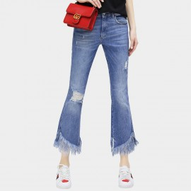 Cocobella Exaggerating Tassel Flared Bottom Blue Jeans (PT318)