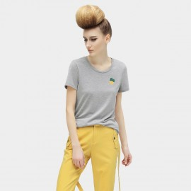 Cocobella Slim Fit Gradient Cotton Pineapple Embroidery Grey Tee (TE435)