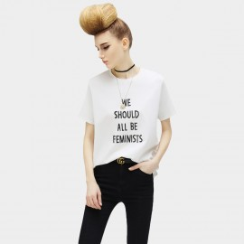 Cocobella We Should All Be Feminist Short Sleeved White Tee (TE450)