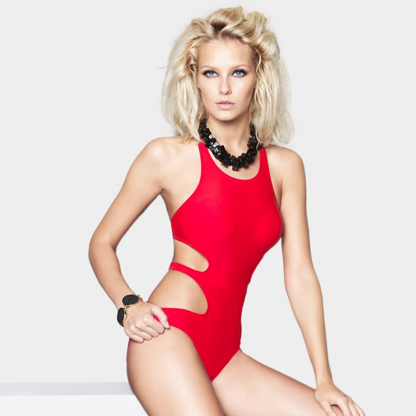 Balneaire Halter Neck Hollow Sides Red One Piece (60700)