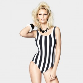 Balneaire Vintage Lollipop Strips Low Back Black One Piece (60703)