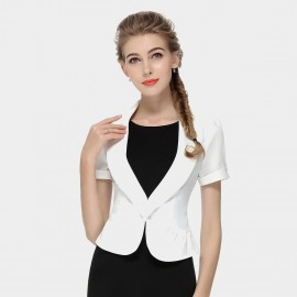 SSXR Short-Sleeved Slim Fit Smart White Blazer (4500)