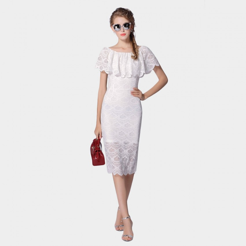 Buy SSXR Short-Sleeved Layered Lace Body Con White Split Dress online, shop SSXR with free shipping