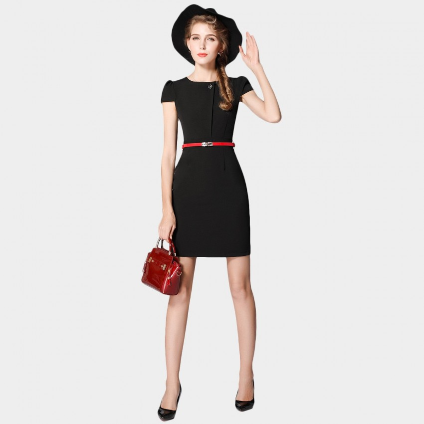 Buy SSXR Short-Sleeved One-Button Body Con Black Dress online, shop SSXR with free shipping