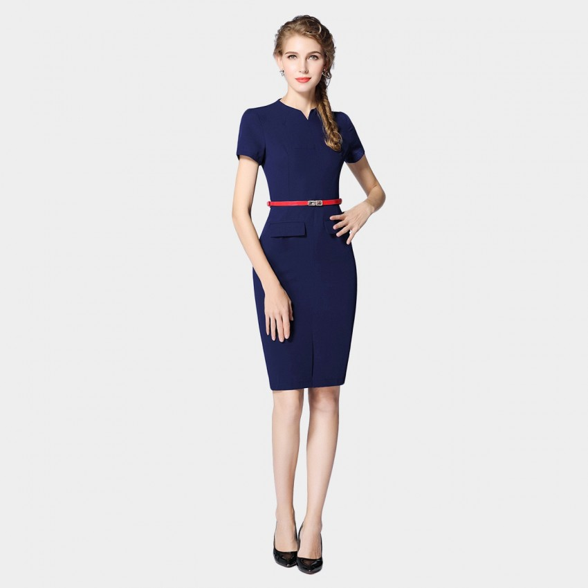 Buy SSXR Short-Sleeved Body Con Navy Dress online, shop SSXR with free shipping