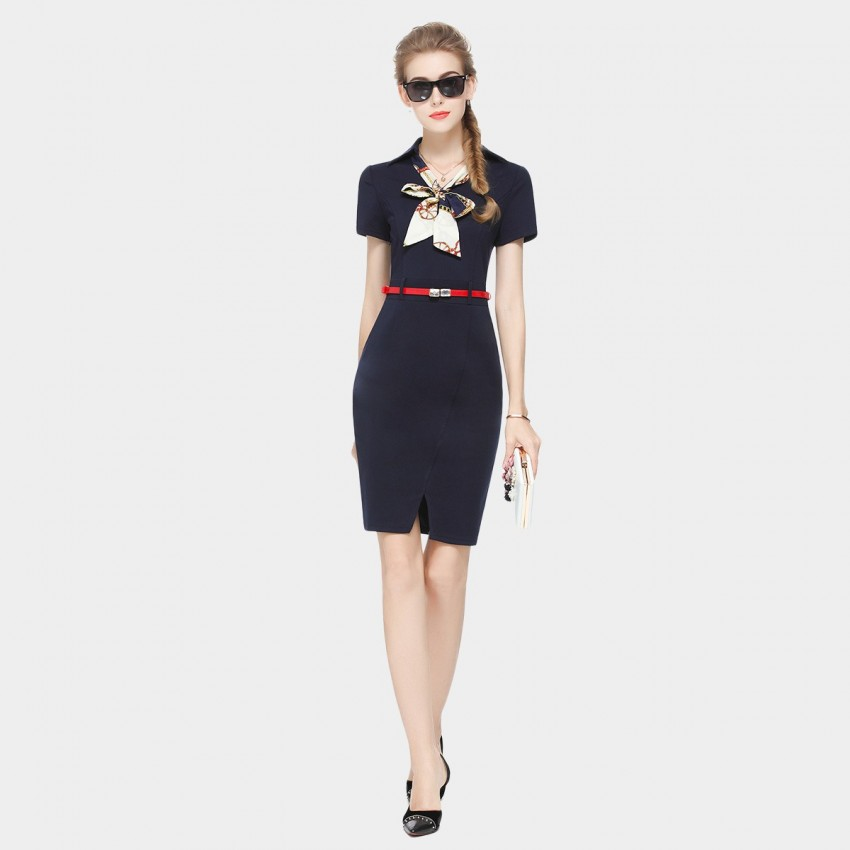 Buy SSXR Short-Sleeved Body Con Navy Split Dress online, shop SSXR with free shipping