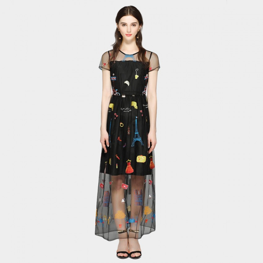 Buy SSXR Short-Sleeved See-Thru Paris Style Patterned Black Dress online, shop SSXR with free shipping