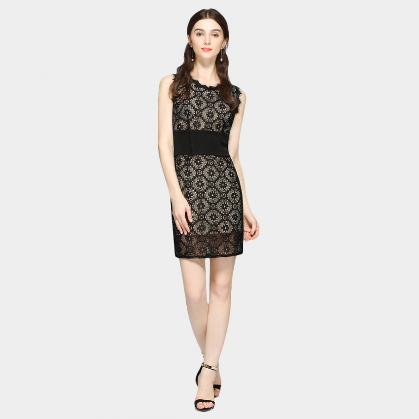 Buy SSXR Sleeveless See-Thru Flowered Black Dress online, shop SSXR with free shipping