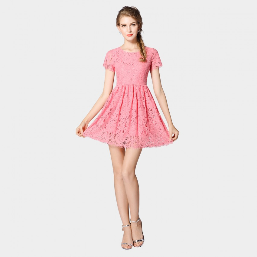 SSXR Short Sleeved Lace Pink Dress (5443)