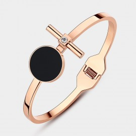 Caromay Black Disc Rose Gold Bracelet (H0240)