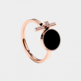 Caromay Black Disc Rose Gold Ring (J0269)