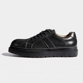 Herilios Black Leather Stripes Commando Soles Lace-Up (H7105D04)