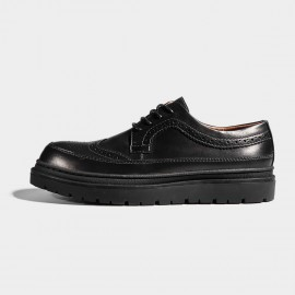 Herilios Black Leather Stripes Commando Soles Lace-Up (H7105D05)