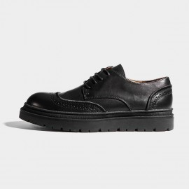 Herilios Black Leather Quarter Brogue Commando Soles Lace-up (H7105D06)
