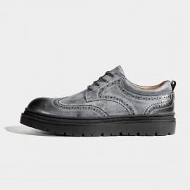 Herilios Grey Leather Wingtip Commando Soles Lace-up (H7105D07)