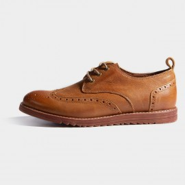 Herilios Apricot Leather Wingtip Wedge Soles Lace-Up (H7105D09)