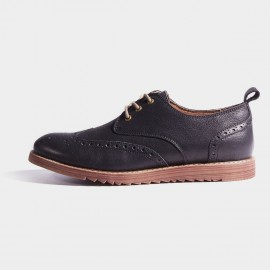 Herilios Black Leather Wingtip Wedge Soles Lace-Up (H7105D09)