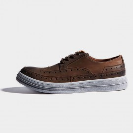 Herilios Coffee Leather Dirt Wingtip Steel Net Soles Sneakers (H7105D10)