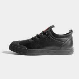 Herilios Black Modern Leather Strips Sneakers With Red Tongue (H7105D92)