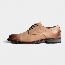 Herilios Gradient Apricot Leather Quarter Brogue Oxford Lace-Up (H7105D94)