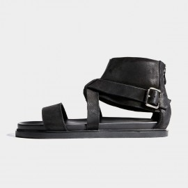 Herilios Black Zip Gladiator Leather Sandals (H7105L06)