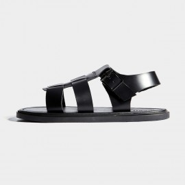 Herilios Black Plain Leather Double Tongue Smooth Strap Sandals (H7105L08)