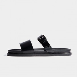 Herilios Black Plain Leather Smooth Strap Sandals (H7105L09)