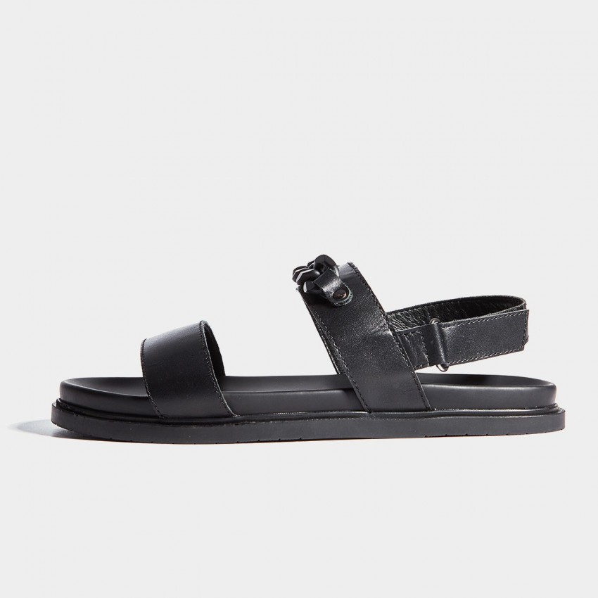 Herilios Black Leather Chain Strap Sandals (H7105L11)
