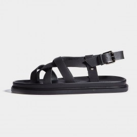 Herilios Black Leather Rough Strap Sandals (H7105L13)
