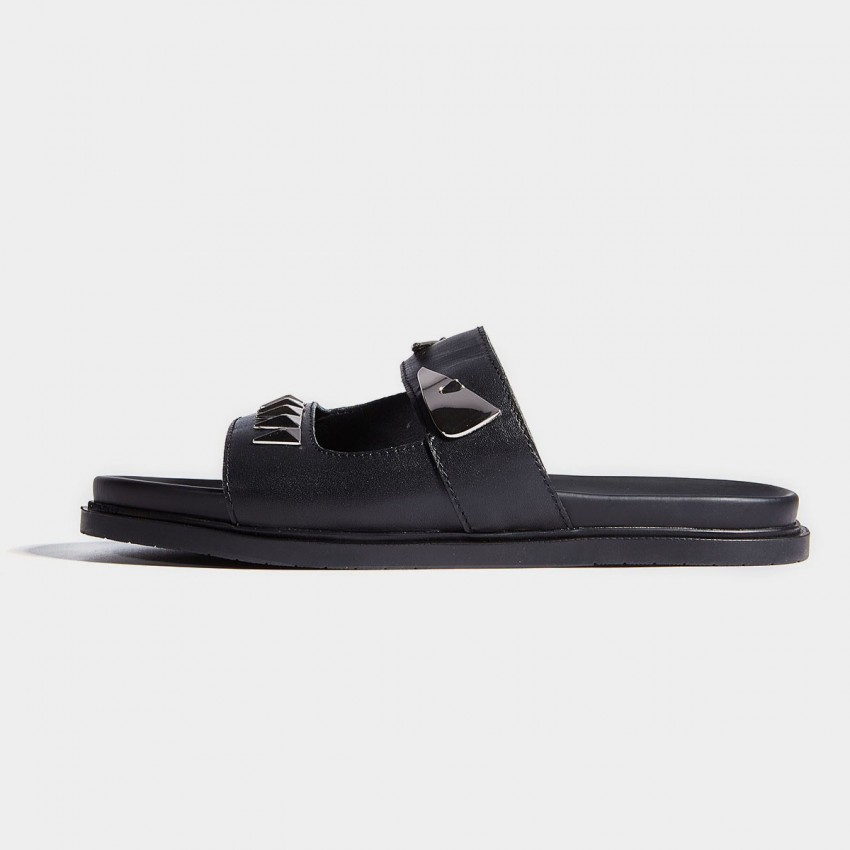 Herilios Black Leather Plain Slip-On Sandals With Shiny Rivets and Silver Pieces (H7105L14)