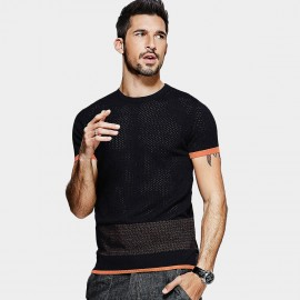 Kuegou Contrasting Cuff Slim Fit Black Knit (LZ-1071)